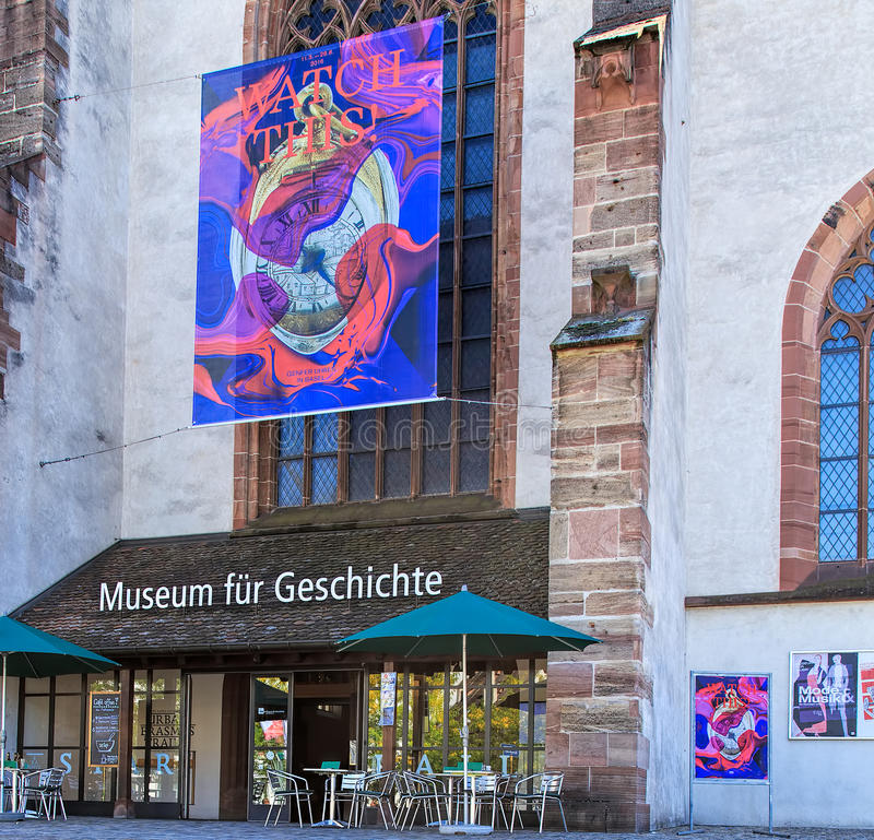 Entrance to the Museum of History in Basel, Switzerland. Basel, Switzerland - 27 August, 2016: entrance to the Museum of History (German: Museum fur Geschichte) royalty free stock photos