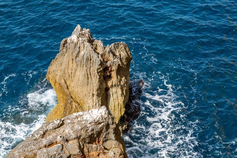 At the entrance to Neptune`s cave, Sardinia. At the entrance to Neptune`s cave on `Capo Caccia` on the island of Sardinia royalty free stock image