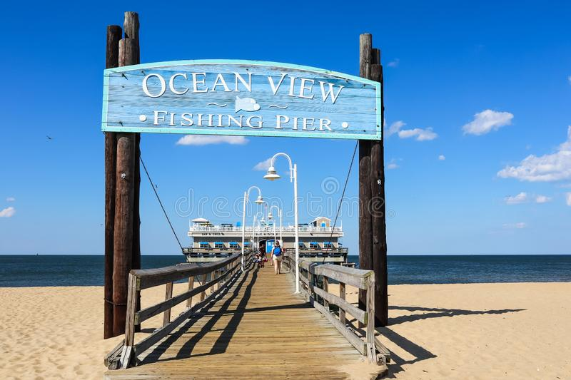 Entrance to Ocean View Fishing Pier in Norfolk, VA royalty free stock photography