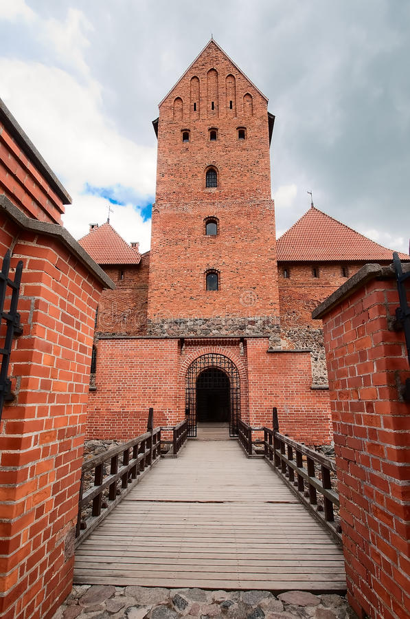 Entrance to the old brick castle in Trakai. Lithuania stock photography