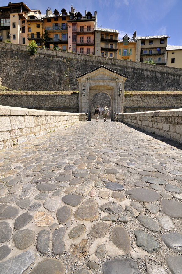 Entrance to old fortified centre of Briançon. Briançon is a commune in the Hautes-Alpes department in the Provence-Alpes-Côte d'Azur region in southeastern royalty free stock photography