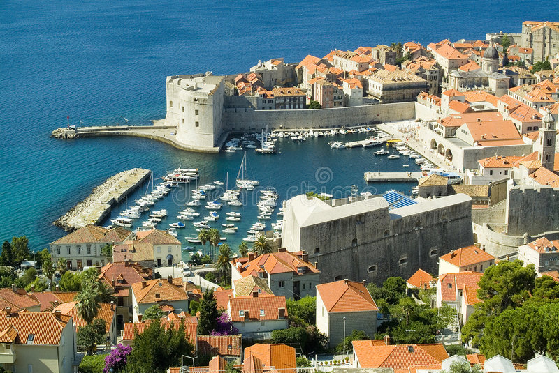 Entrance to the old seaport in Dubrovnik stock photos