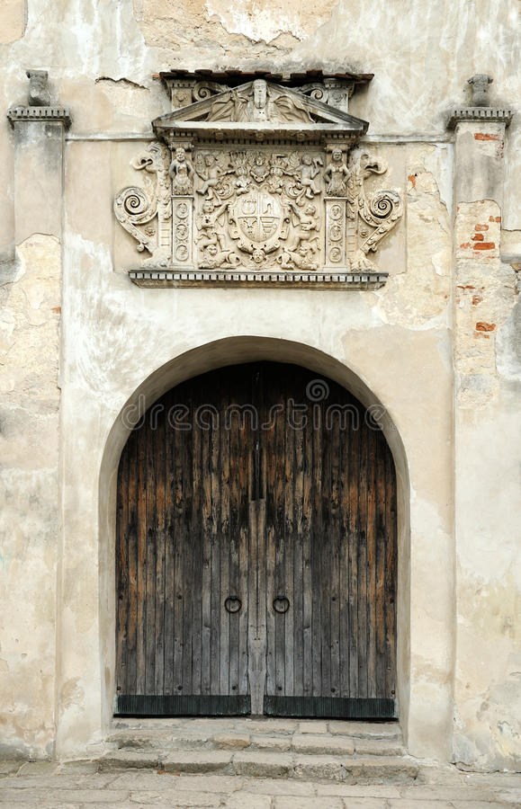Entrance to the Olesko Castle royalty free stock photography