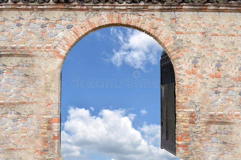 The entrance to paradise. Surreal image of the gateway to paradise stock image