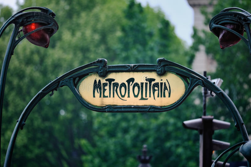 Entrance to the Paris Metro. A sign at the entrance to the Paris Metro. In Art-Deco style stock images