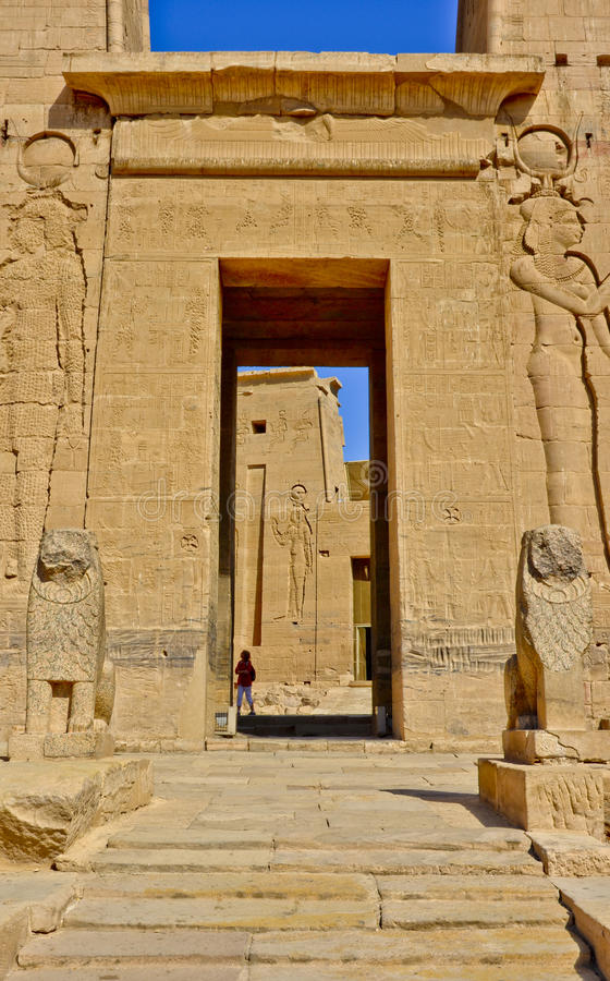 Entrance to philae temple. On agilkia island, dedicated to god isis, aswan, egypt stock photo