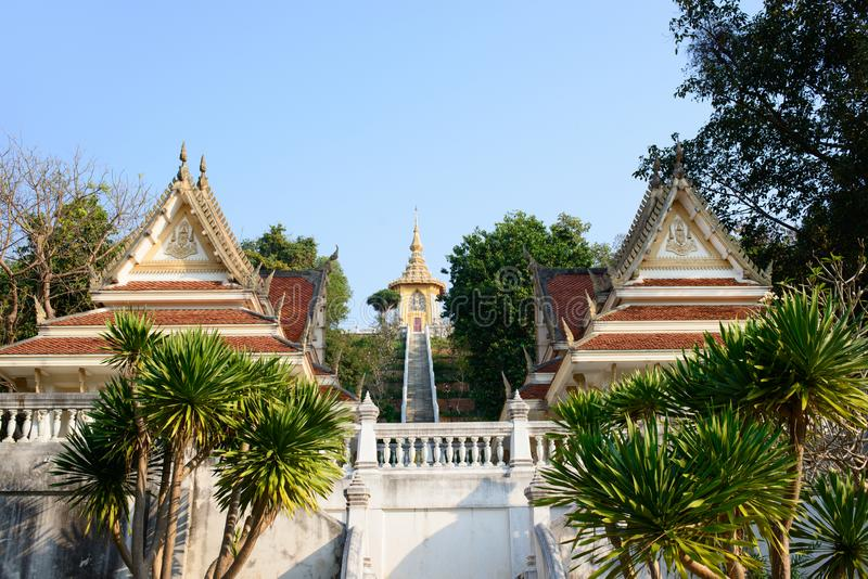 Entrance to Phra Maha Mondop Phutthabat temple on the hill of Wat Yansangwararam Temple. stock photos