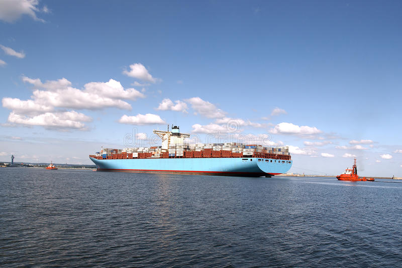 Download Entrance To The Port's Largest Container Ship Stock Photo - Image: 21463088