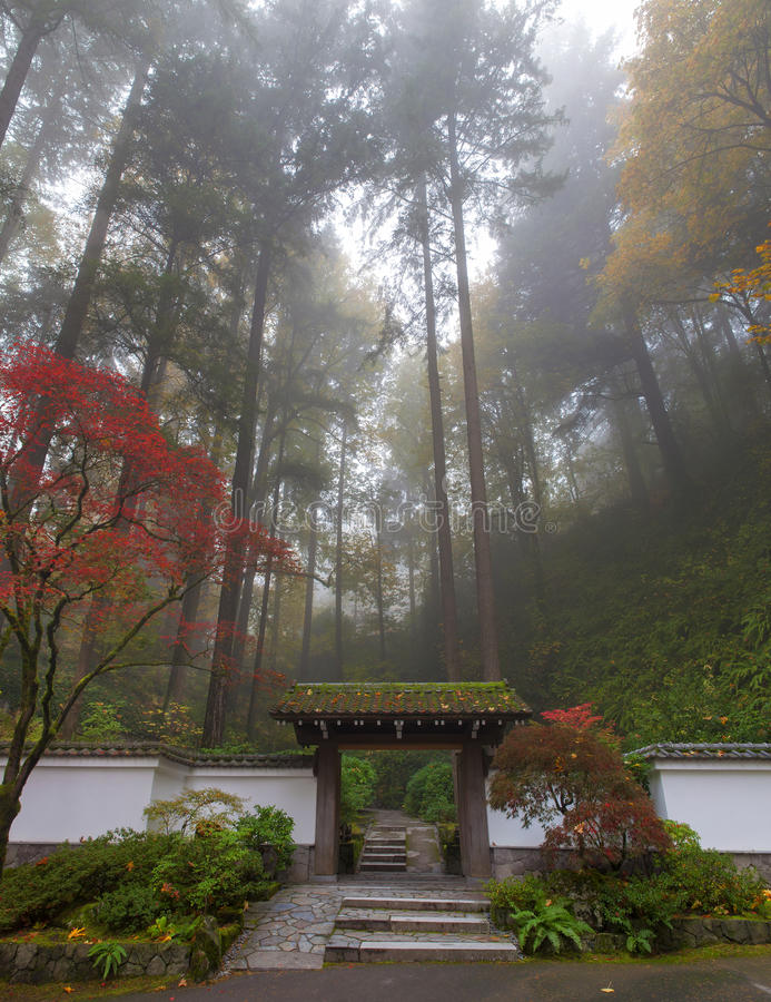 Free Entrance To Portland Japanese Garden One Colorful Foggy Autumn Morning Royalty Free Stock Photography - 46551667