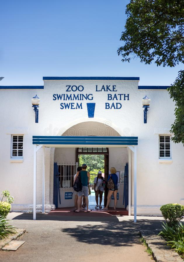 Entrance to public swimming pool. Zoo Lake pool. stock images