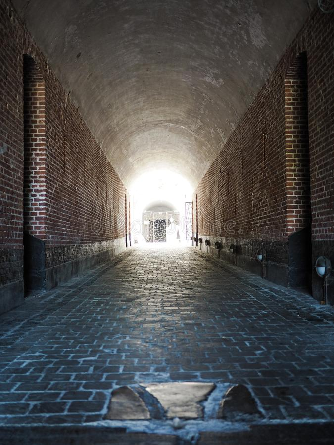 The entrance to the publicly accessible Fortress of Duffel. Near Mechelen, Belgium royalty free stock photos
