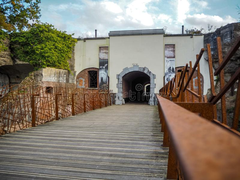 The entrance to the publicly accessible Fortress of Duffel. Near Mechelen, Belgium stock photography