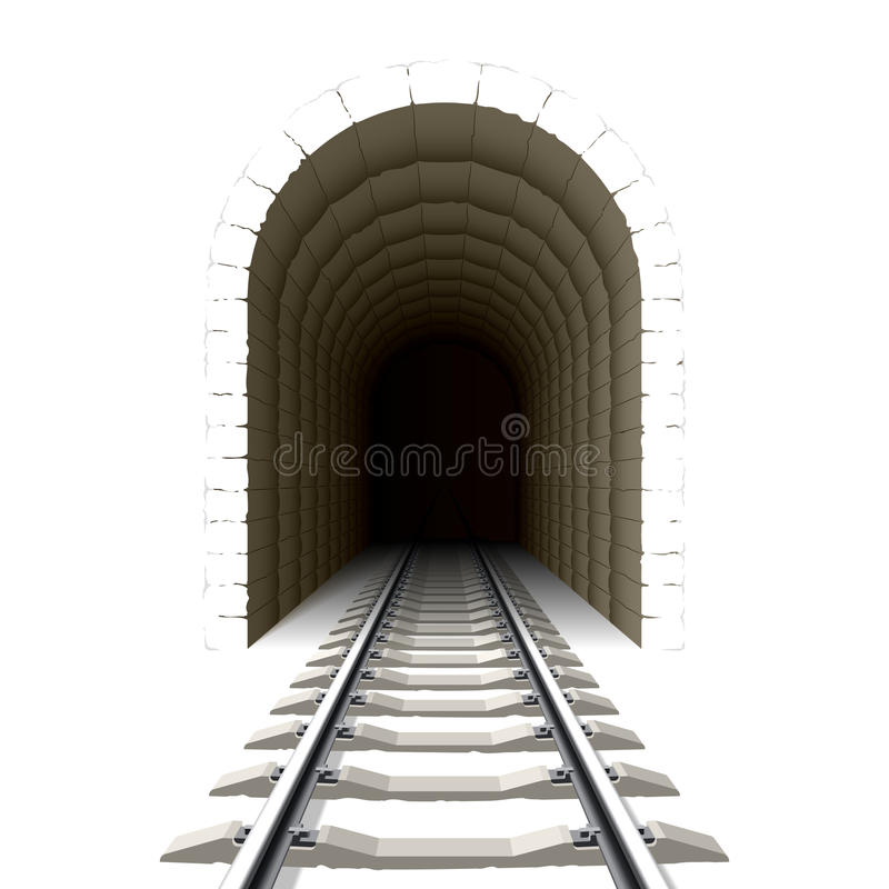 Entrance to railway tunnel royalty free illustration