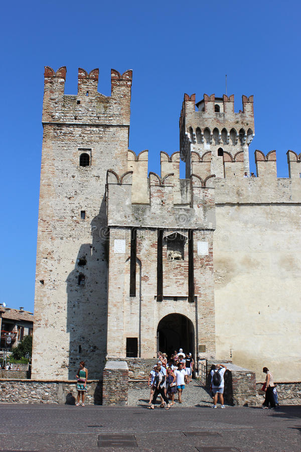 Entrance to Rocca Scaligera, Sirmione, Italy stock photos