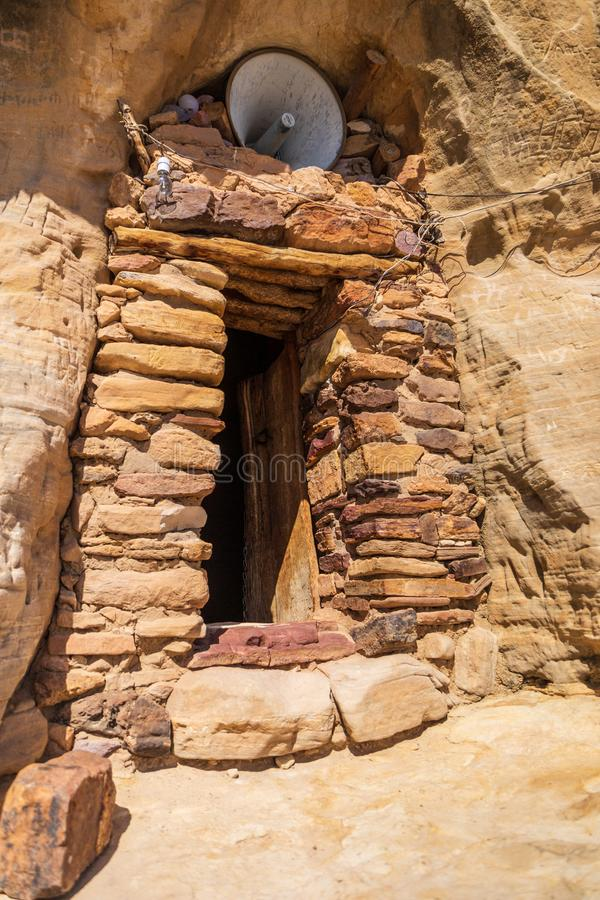 Entrance to the famous Daniel Korkor church in the Tigray region. Entrance to the rock hewn Daniel Korkor church stock image