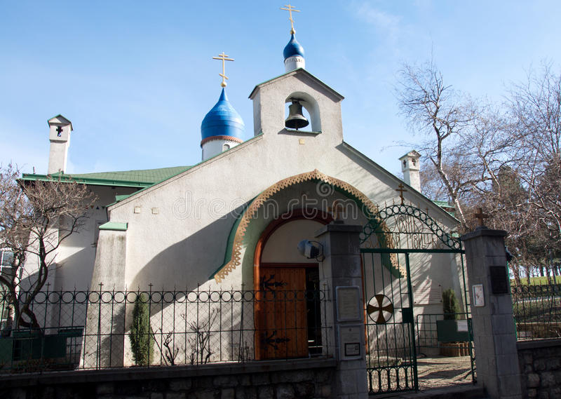 Entrance to Russian church in Belgrade stock photography