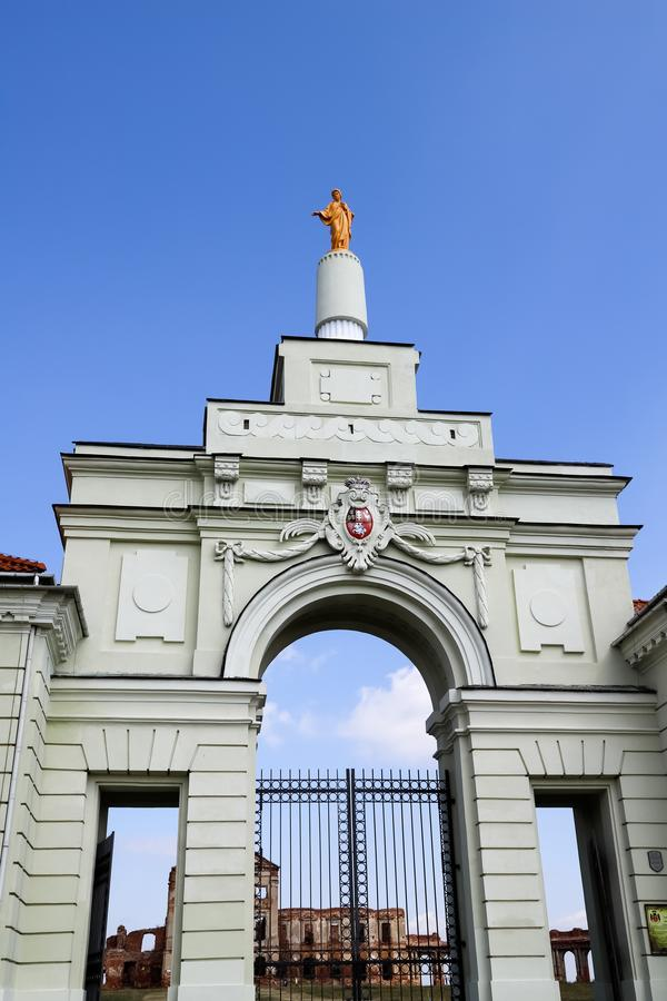 The entrance to Ruzhany Palace. Reconstructed gate, Museum. 2019, August  11. Brest region, Belarus royalty free stock image