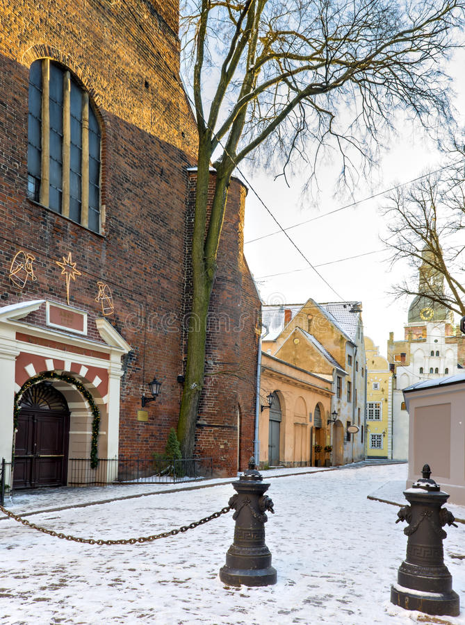 Entrance to Saint Jacob Catholic church in old Riga city, Latvia. St. Jacob's Cathedral is one of the famous architectonic features in historical center royalty free stock image