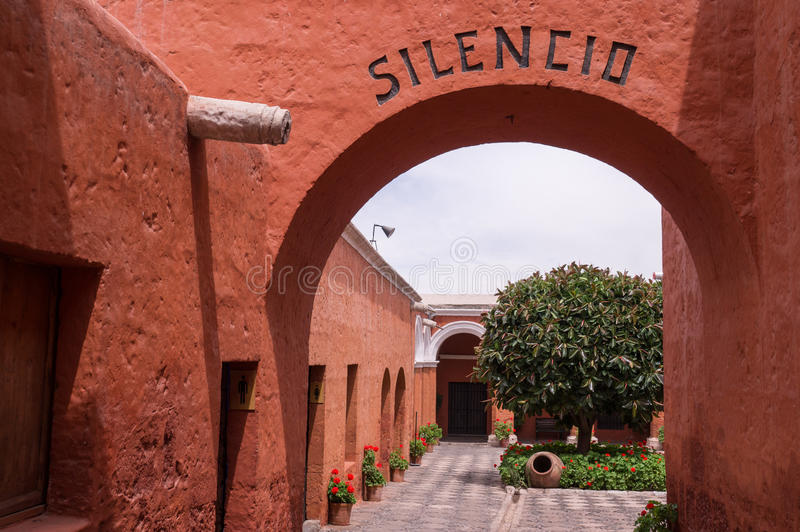 Entrance to Santa Catalina monastery in Arequipa, Peru royalty free stock images