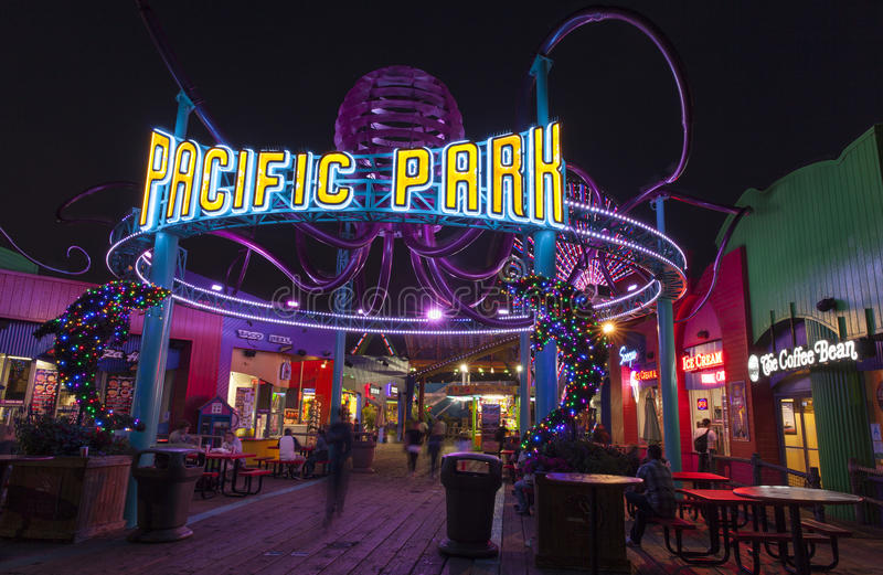 Entrance to the Santa Monica Pier Amusement Park. stock photos
