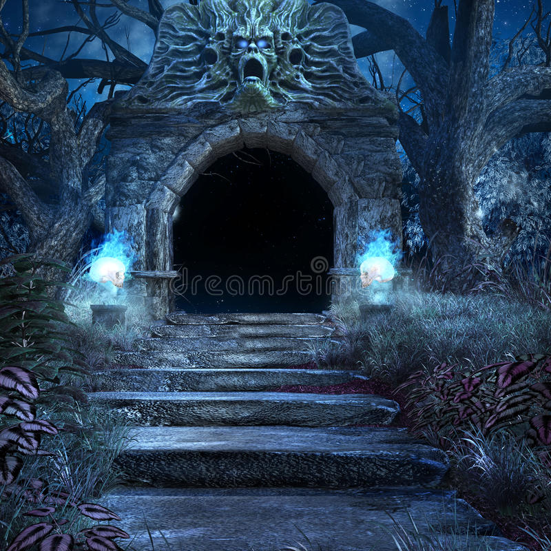 Entrance to the scary crypt. With stairs and old trees vector illustration