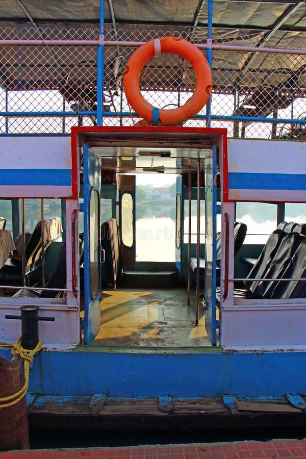Entrance to the ship. Kerala public transport. Backwaters Kerala stock photo