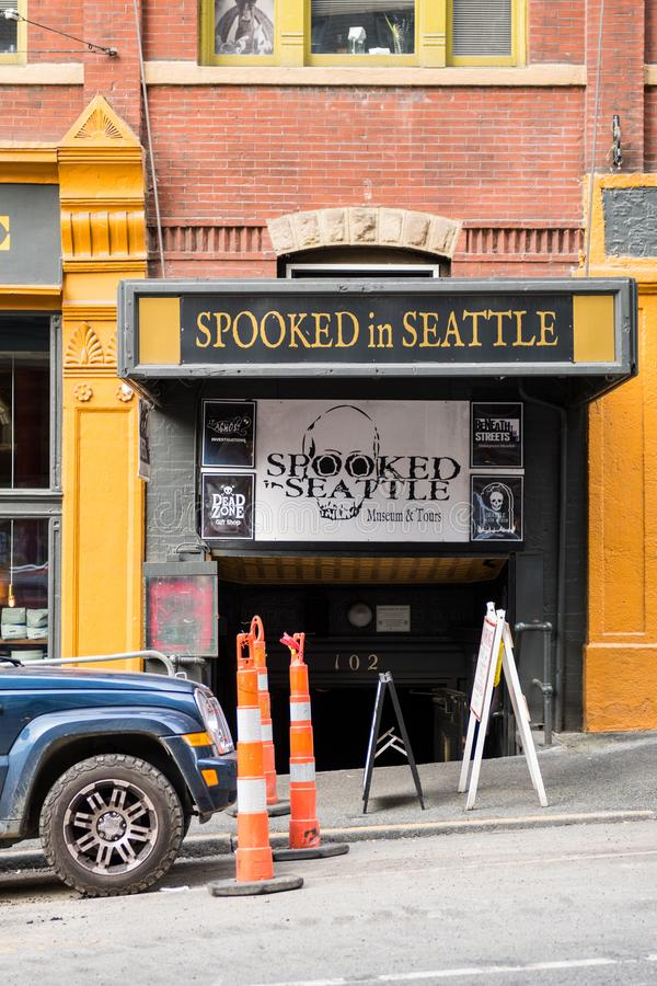 Entrance to Spooked in Seattle Museum and Tours. Seattle, Washington, USA - October 18, 2019: Entrance to Spooked in Seattle Museum and Tours royalty free stock photos