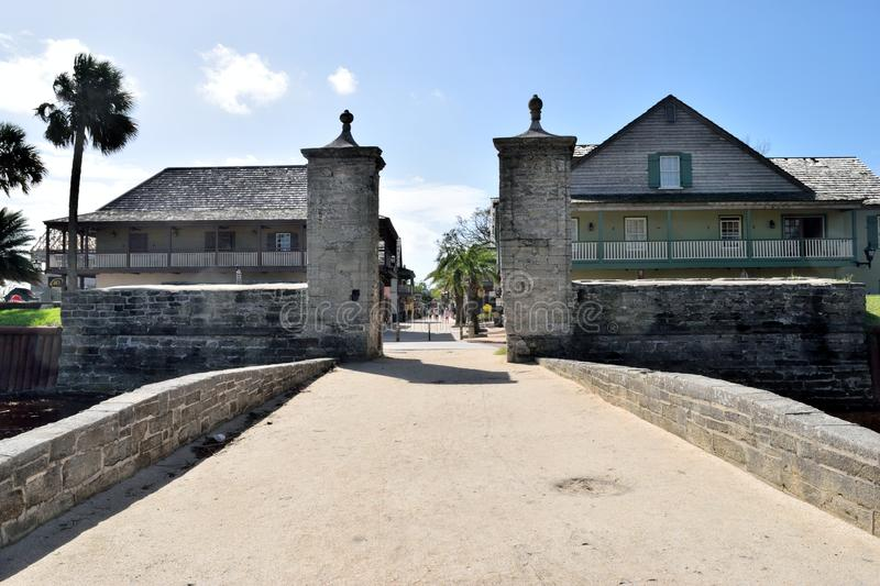 Entrance to St. Augustine, Florida. Stone bridge and gate at entrance to St. Augustine, Florida on sunny day stock photography