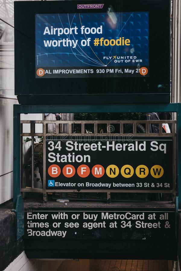 Entrance to 34 Street-Herald Square subway station in New York, USA. royalty free stock images