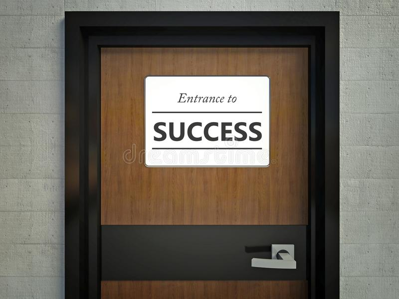 Entrance to success sign hanging on office door. Entrance to success sign hanging on a office door royalty free illustration