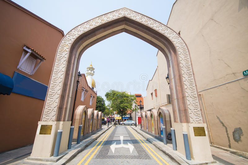 The entrance to the sultan mosque in Singapore. Landmark royalty free stock photography
