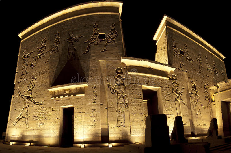 Entrance to the temple of Isis on Philae Island. Main entrance to the Temple of Isis on Philae Island in Aswan at night royalty free stock photography