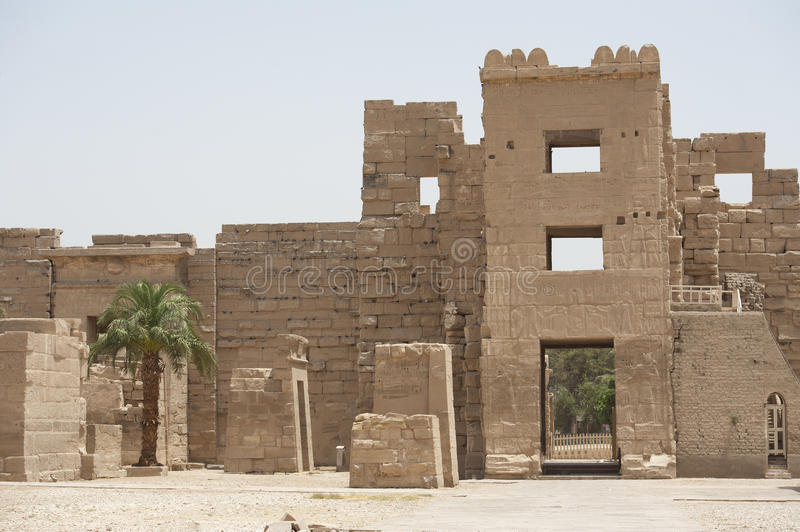 Entrance to the temple at Medinat Habu. Syrian gate entrance to the temple at Medinat Habu in Luxor stock image