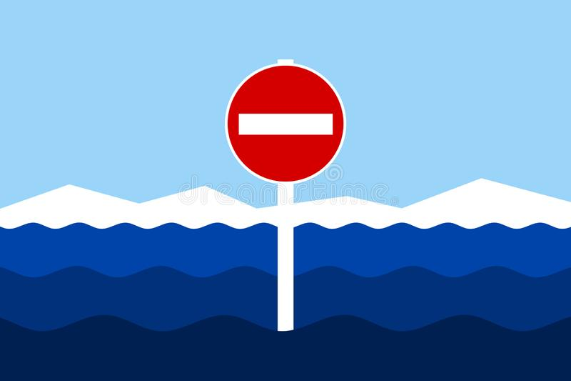 Entrance to territorial waters is forbidden, blockedstopped and banned. Land and No entry and Do not enter traffic sign in ocean, sea and water. Entrance to vector illustration