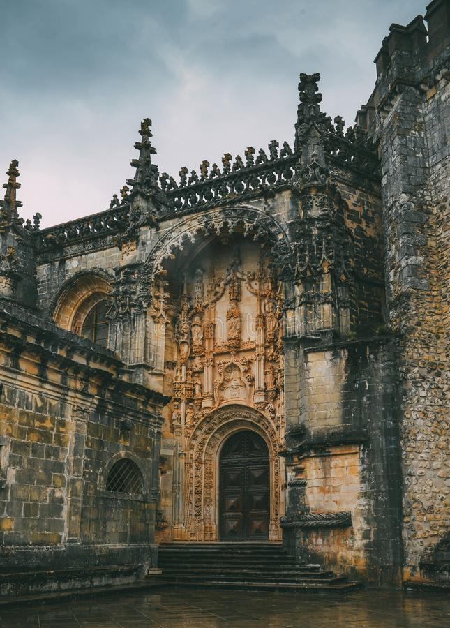 Entrance to 12th-century Convent of Tomar in Manueline style- Tomar, Portugal - UNESCO World Heritage Ref: 265. Tomar, Portugal - June 10, 2018: Entrance to 12th royalty free stock images