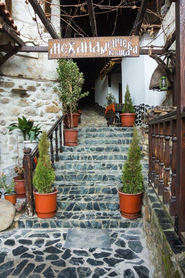 Entrance to the traditional rural restaurant in Melnik, Bulgaria stock image