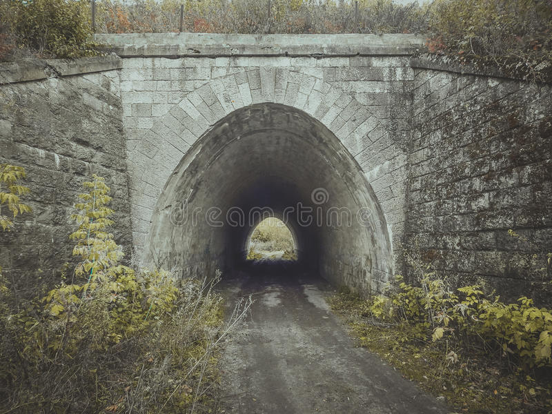 Entrance to the tunnel. Bridge. royalty free stock photo