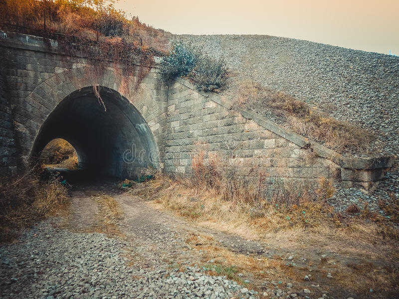 Entrance to the tunnel. Bridge. stock image