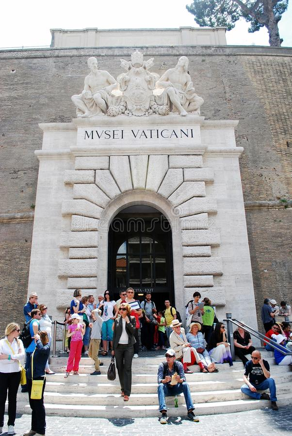 Entrance to the Vatican museum on May 30, 2014 royalty free stock photo
