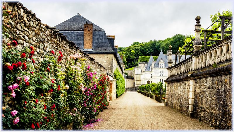 The entrance to the Villandry  Castle, Loire Valley France stock photography
