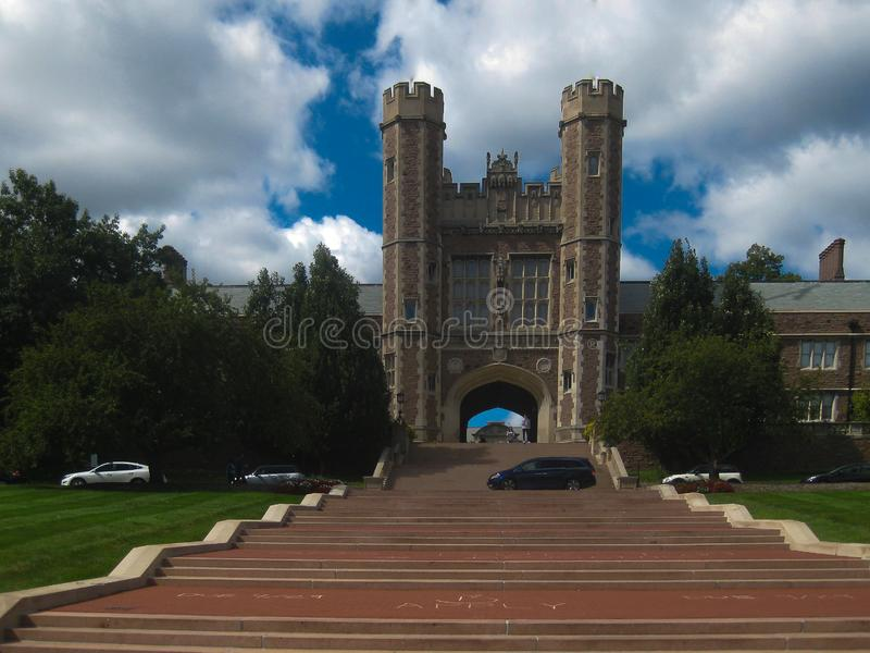 Entrance to Washington University in St. Louis stock photography
