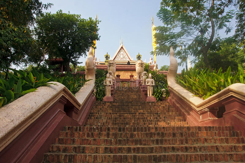 Entrance to Wat Phnom royalty free stock photo