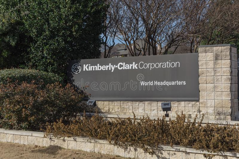 Entrance to world headquarters of Kimberly-Clark in Irving, Tex. IRVING, TX, USA-JAN 14, 2018: Main entrance to world headquarters of Kimberly-Clark. American stock image
