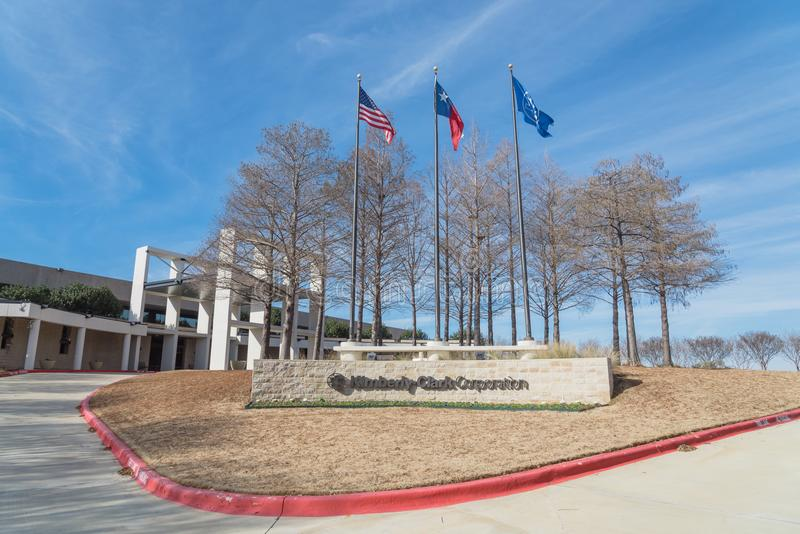 Entrance to world headquarters of Kimberly-Clark in Irving, Tex. IRVING, TX, USA-JAN 14, 2018: The world headquarter of Kimberly-Clark, American multinational royalty free stock image