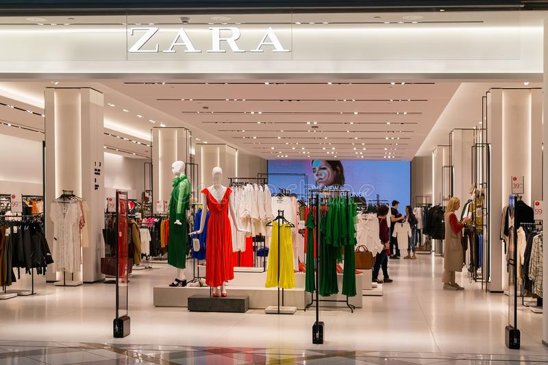 Entrance to Zara store in the Grand Mall shopping center. Bright and fashionable salesroom of Zara in Bulgaria royalty free stock photo
