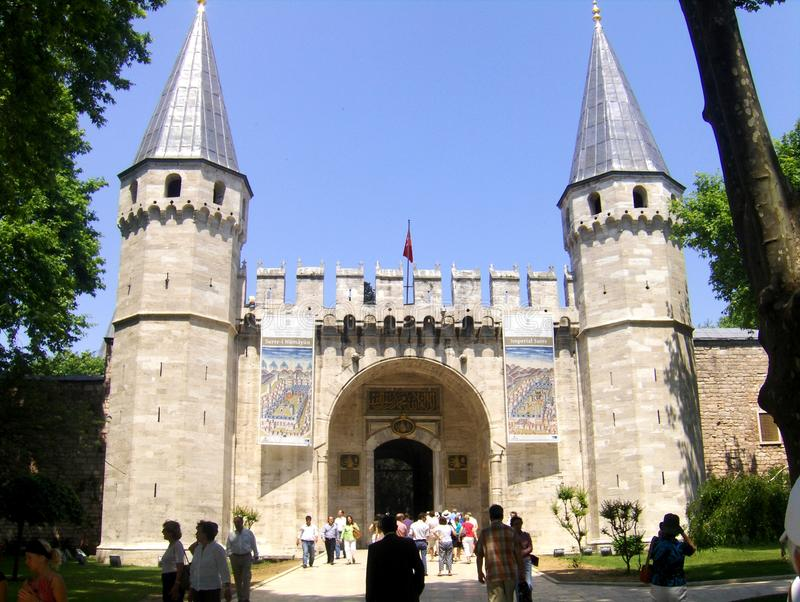 Entrance in Topkapı Palace. The Topkapı Palace (Turkish: Topkapı Sarayı) is a large palace in Istanbul, Turkey, that was the primary residence of the stock photography