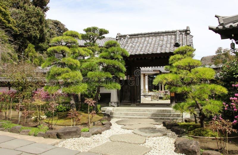 Entrance in traditional zen garden inside Hase-Dera or Hase-kannon Shinto, Hasedera Temple, Kamakura, Japan royalty free stock photography