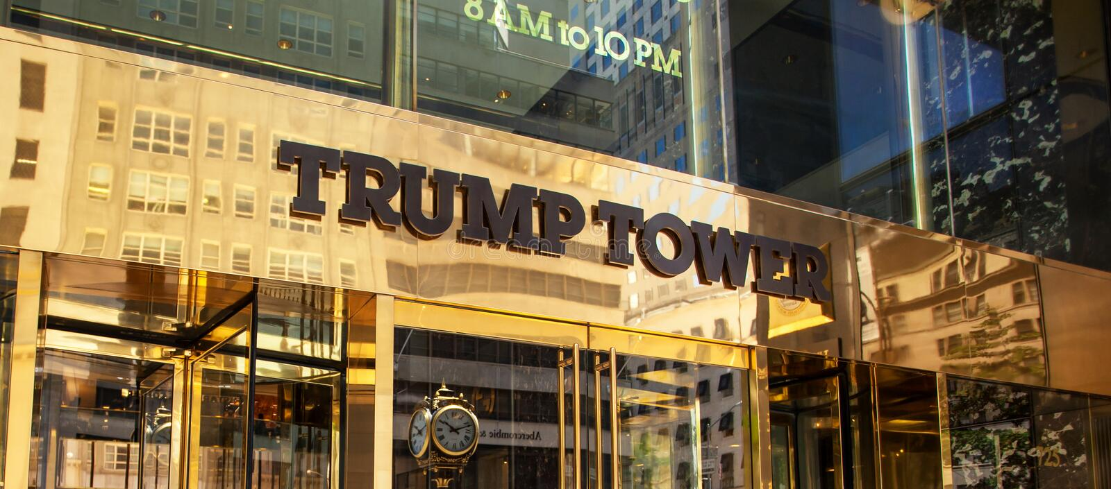 Entrance of Trump Tower on Fifth Avenue in midtown Manhattan. stock photos