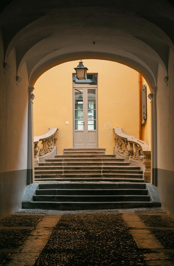 Entrance of typical old italian house somewhere in italy.  stock image