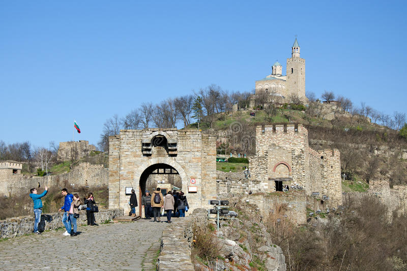 The entrance of Tzarevetz fortress. The fortress on Tzarevetz hill is one of the most popular tourist destinations in Veliko Tarnovo, Bulgaria.The city itself is royalty free stock images